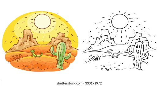 Lizard and cactus in the desert, cartoon drawing, both colored and black and white