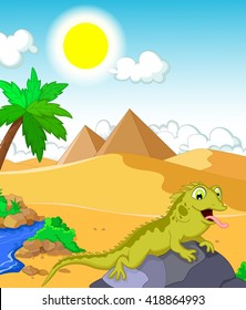 lizard cartoon with desert and pyramid background