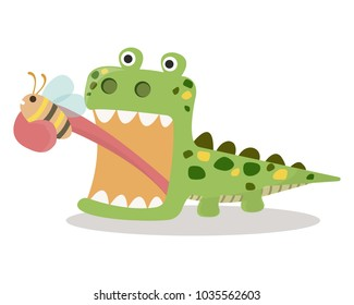 Lizard eating bug with tongue. Lizard eating bug vector illustration cartoon. Green funny cartoon lizard isolated on white background.
