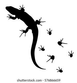 lizard and footprints silhouette vector