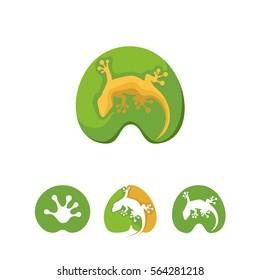 Lizard, gecko logo set in leaf