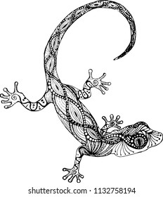 lizard gecko in the style of zentangle