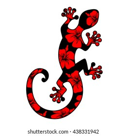 Lizard with hibiscus flowers, gecko, ornaments, silhouette, vector