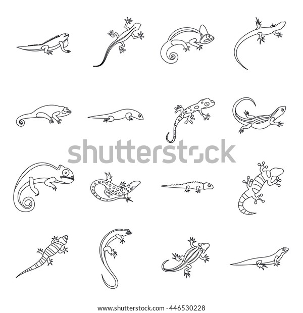 20ca279ca7e89 Lizard icons in outline style. Line lizards set isolated vector  illustratration