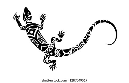 Lizard Maori style. Tattoo sketch