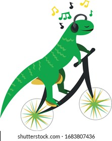 A lizard on a bicycle listens to music. Cute poster, print. Design for kids and teens.