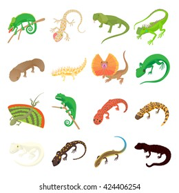 Lizard set in cartoon style. Gecko isolated on white background. Chameleon, gecko and salamander icons vector illustration