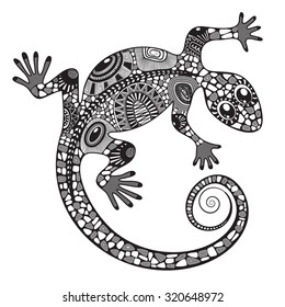 Lizard silhouette covered various simple patterns. Black and white hand drawn doodle vector illustration. Sketch for tattoo.
