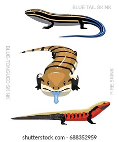 Lizard Skink Set Cartoon Vector Illustration