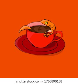 lizard swim in a coffe cups vector illustration for describe relax time