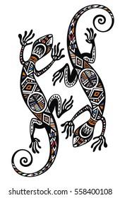 Lizard in in tattoo style