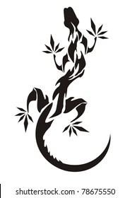 Lizard tattoo. Vector illustration of a lizard. Black and white
