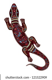 Lizard with vector decorative patterns