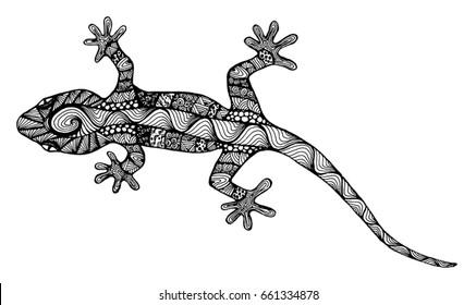 Lizard zentangl. Lizard Doodle. Tattoo Lizard