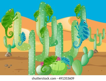 Lizards and cactus in the desert illustration