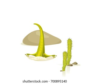 Lizard's head in the sand in the desert cartoon style isolated on white background. Vector illustration