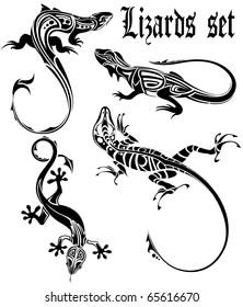 lizards set tattoo