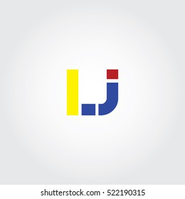 LJ flat initial letter logo combining yellow, blue and red
