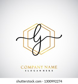 LJ Initial Handwriting logo template vector