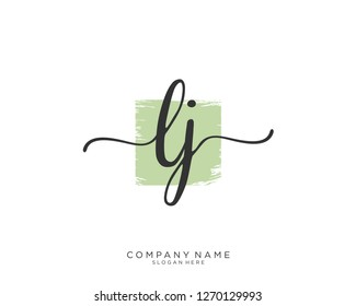 LJ Initial handwriting logo vector