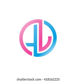 LJ initial letters looping linked circle logo blue pink