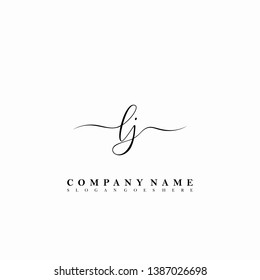 LJ Initial luxury handwriting logo vector