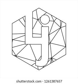 Lj initials geometric polygonal logo