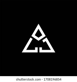 LJ monogram logo with 3 pieces shape isolated on triangle design template