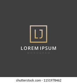 LJ. Monogram of Two letters L & J. Luxury, simple, stylish and elegant LJ logo design. Vector illustration template.