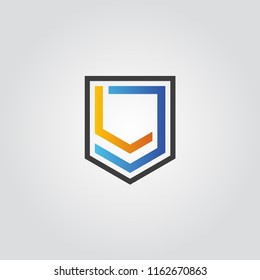 LJ shield shape Letter logo design template