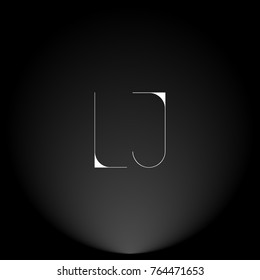LJ White thin minimalist LOGO Design with Highlight on Black Background.