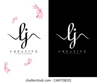 lj/jl initial handwriting logo template
