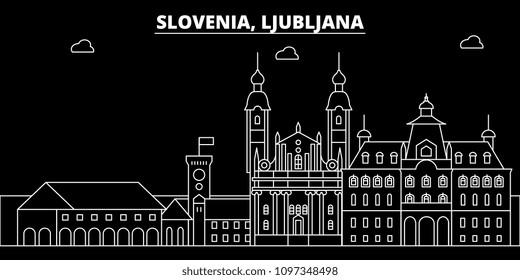 Ljubljana silhouette skyline. Slovenia - Ljubljana vector city, slovenian linear architecture, buildings. Ljubljana travel illustration, outline landmarks. Slovenia flat icon, slovenian line banner