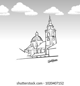 Ljubljana, Slovenia famous landmark sketch. Lineart drawing by hand. Greeting card icon with title, vector illustration