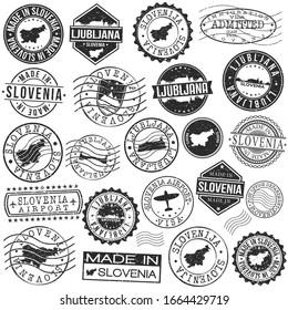 Ljubljana, Slovenia Set of Stamp. Vector Art Postal Passport Travel Design. Travel and Business Seals.