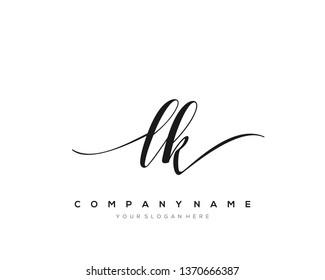 LK handwriting initial  logo vector