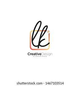 LK initial handwriting with color logo icon template vector.