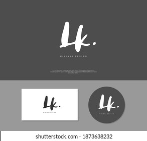 LK Initial handwriting or handwritten logo for identity. Logo with signature and hand drawn style.