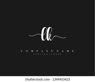 LK initial handwriting logo template with luxury color vector