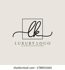 LK Initial handwriting logo template vector