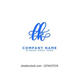 LK Initial Handwriting Logo Vector