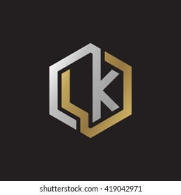 LK initial letters looping linked hexagon elegant logo golden silver black background