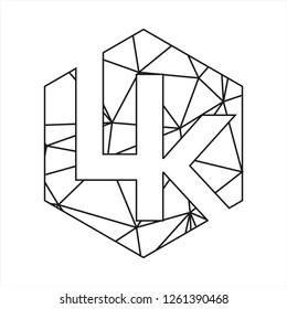 Lk initials geometric polygonal logo