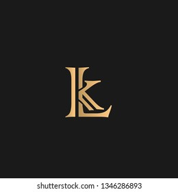 LK or KL logo vector. Initial letter logo, golden text on black background