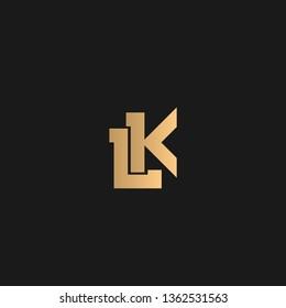 LK or KL logo vector. Initial letter logo, golden text on black background