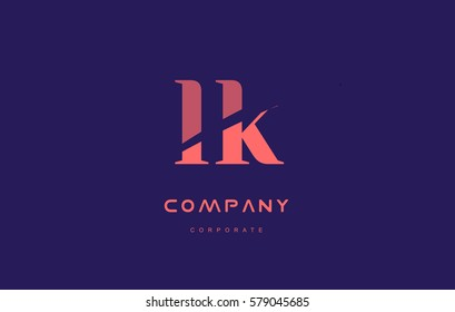lk l k alphabet small letter blue pink creative design vector company logo icon template