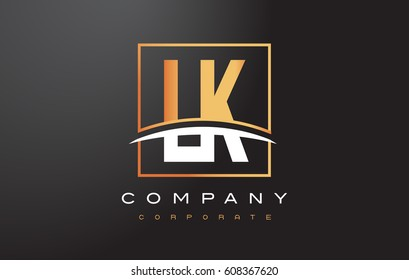 LK L K Golden Letter Logo Design with Swoosh and Rectangle Square Box Vector Design.