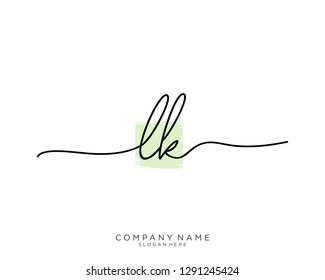 LK L K Initial handwriting logo template