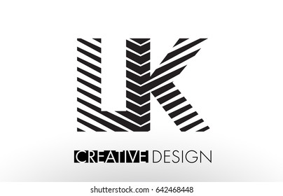 LK L K Lines Letter Design with Creative Elegant Zebra Vector Illustration.