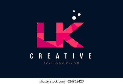 LK L K Purple Letter Logo Design with Low Poly Pink Triangles Concept